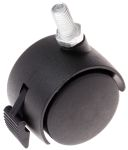 Product image for 2 wheel nylon castor,Br,40 dia,M8 stud