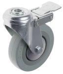 Product image for Braked Swivel Castor, 100mm, Rubber Tyre