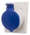 Product image for IP44 2P+E angled panel socket,32A 230V