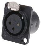 Product image for 3 way univ black chrome panel XLR socket