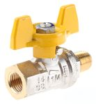 Product image for Gas T handle ball valve 1/4in M-F