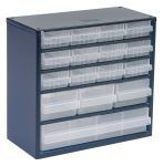 Product image for Raaco 16 Drawer Storage Unit, Steel, 282mm x 306mm x 150mm, Blue