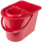 Product image for Red bucket with wringer, 15 litre