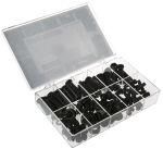 Product image for Black PVC Mixed Grommet Kit, 100 Piece