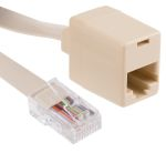 Product image for Beige 8 way RJ45 plug to skt extender,2m