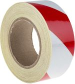 Product image for Red/wht BS1710 reflective tape,50mmx25m