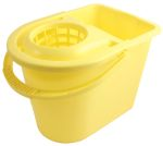 Product image for Yellow bucket with wringer, 15 litre