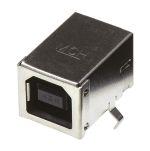 Product image for Type B USB 90 deg single w/kinked tab