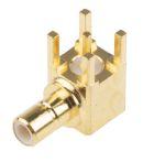 Product image for GoldPt SMB male 90deg PCB socket,50ohm