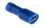 Product image for Blue PVC shrouded receptacle,6.35x0.8mm