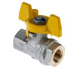 Product image for Gas T handle ball valve 1/4in F-F
