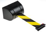 Product image for Wall mount barrier,Yellow/black webbing