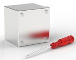 Product image for RS PRO 304 Stainless Steel Satin Adaptable Enclosure Box, 0 Knockouts 100mm x 100 mm x 85mm