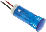 Product image for 10mm snap-in panel LED wires, blue 12Vdc