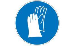 Gebotszeichen mit Handschuhen