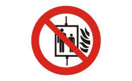 """Verbotszeichen für """"Aufzug im Brandfall nicht benutzen"""""""