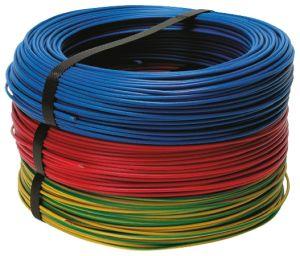 Mehrere aufgerollte Leitungen unterschiedlicher Farbe