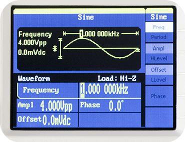 Display eines Frequenzgenerators
