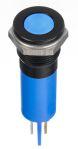 Product image for 12mm flush black chrome LED, blue 24Vdc