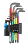 Product image for Wera 9 Piece L Shape Torx Key Set TX10 x 85 mm, TX15 x 90 mm, TX20 x 96 mm, TX25 x 104 mm, TX27 x 112 mm, TX30 x 122