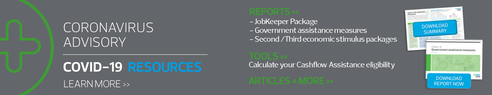 Visit the covid-19 resource center for information about JobKeeper, Cashflow boosts for employeers and government stimulus packages