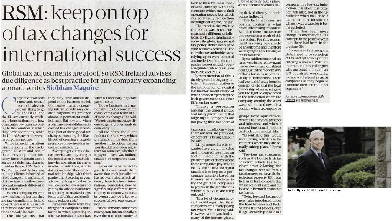 Global tax changes and tax due diligence - Sunday Business Post Report