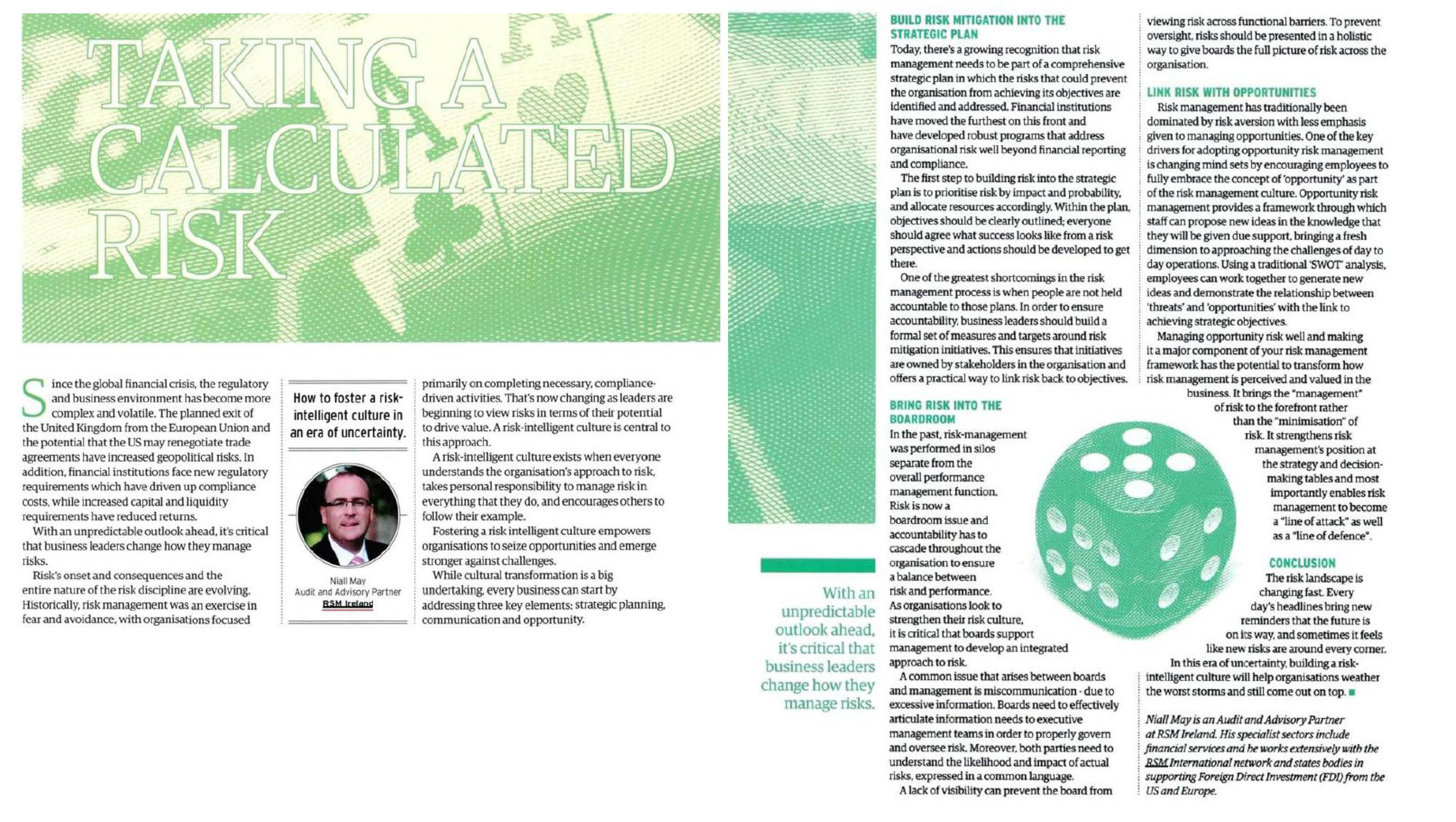 Taking a calculated risk - risk management article in Business & Finance Magazine