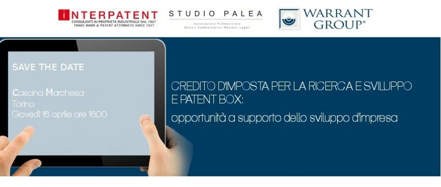 Credito d'Imposta, Patent Box - Event, Turin, April 2015