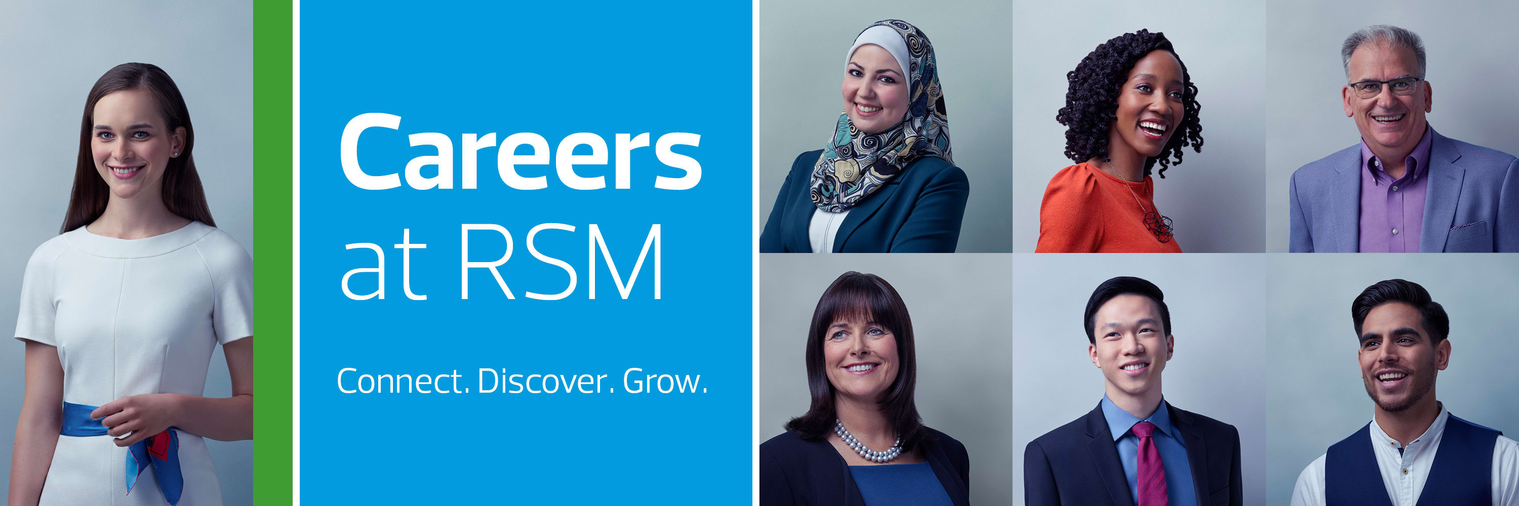 RSM Staff Photos on branded background for Current Opportunities at RSM