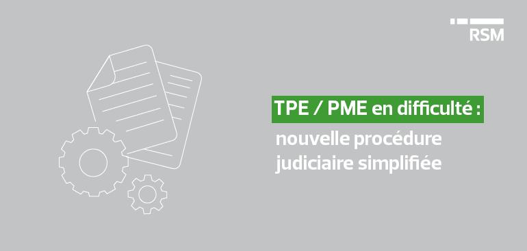 TPE PME en difficulté nouvelle procédure simplifiée dette