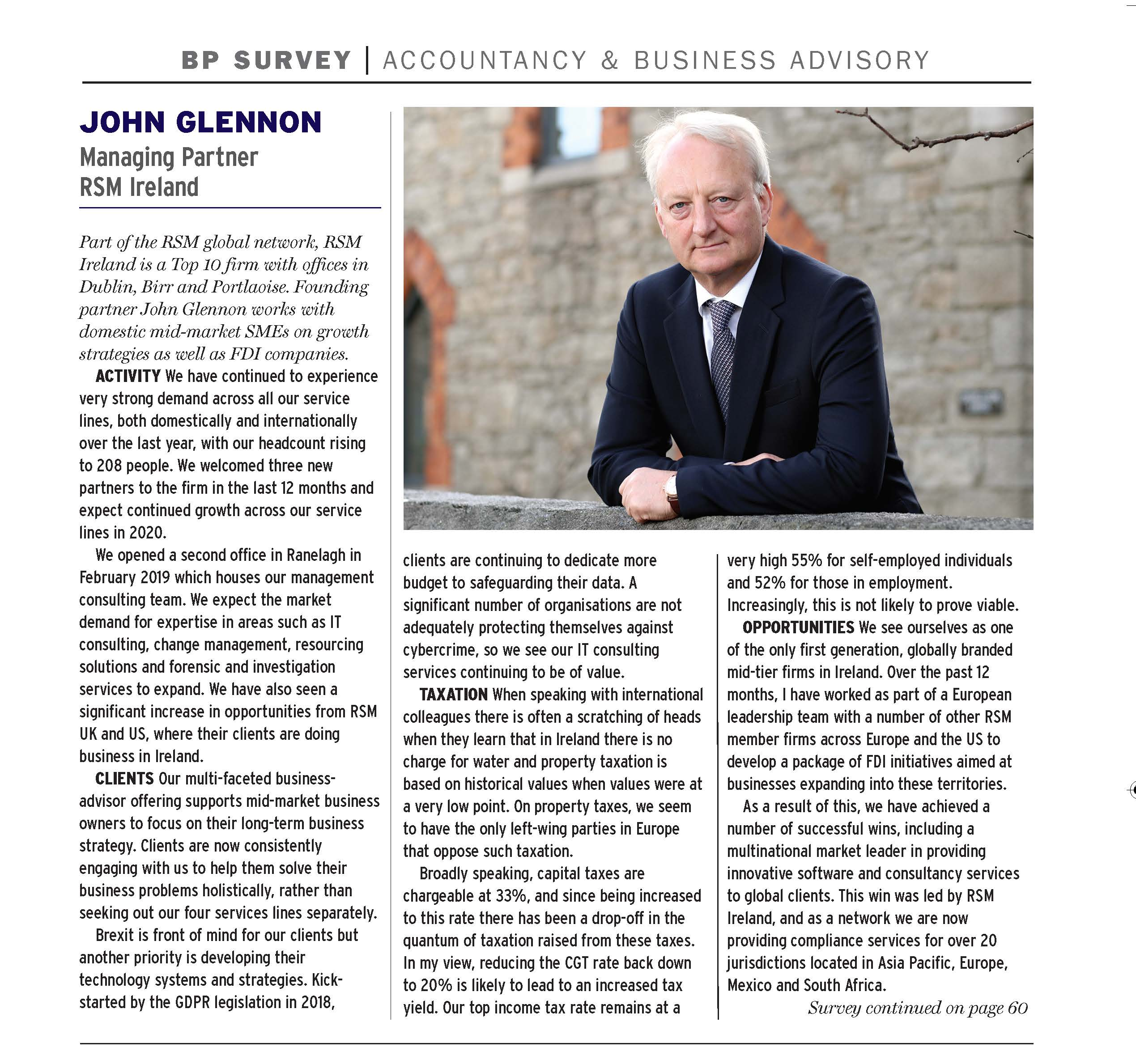 John Glennon interview in Business Plus Accountants Who's Who in Ireland