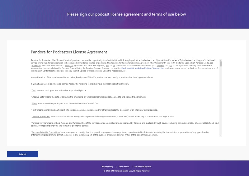 pandora podcast terms and conditions