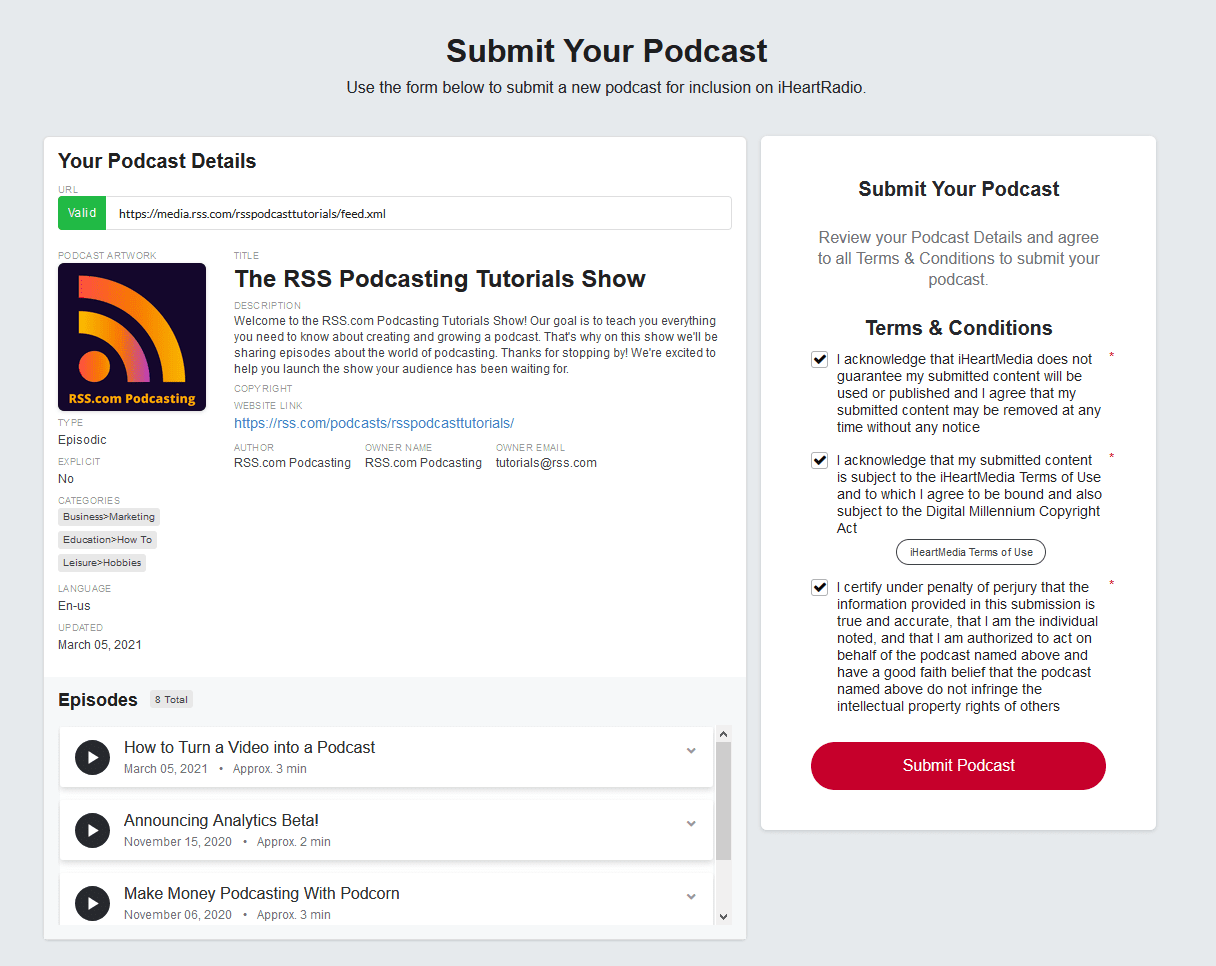 review your podcast details on iheartradio