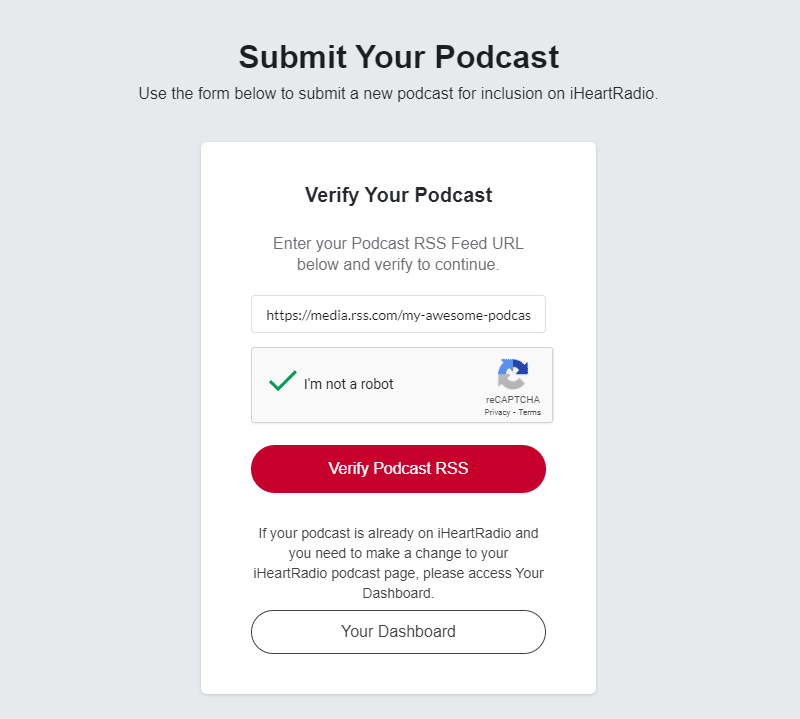 verify podcast rss feed on iheartradio
