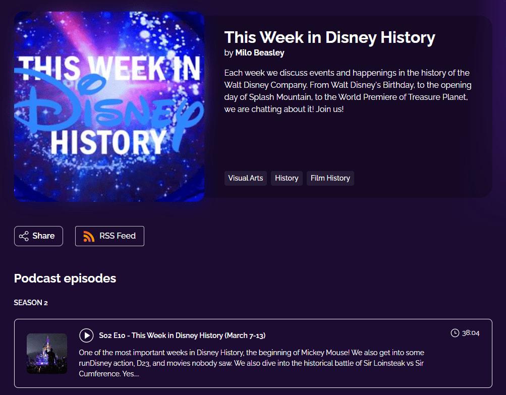 This Week in Disney History by Milo Beasley