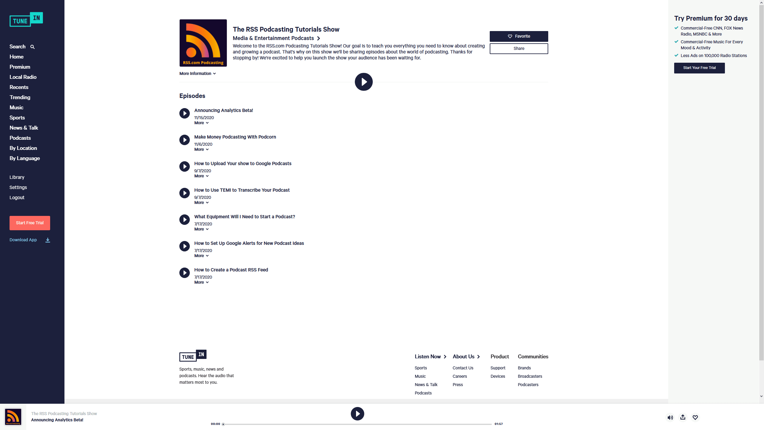 submit your podcast to tunein