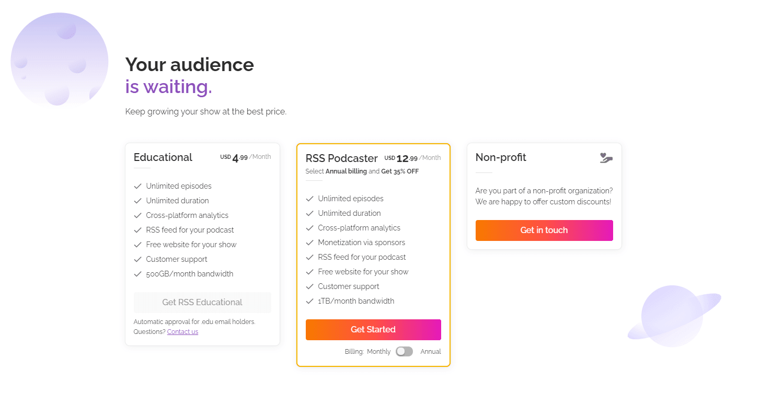 RSS.com Podcasting pricing plans