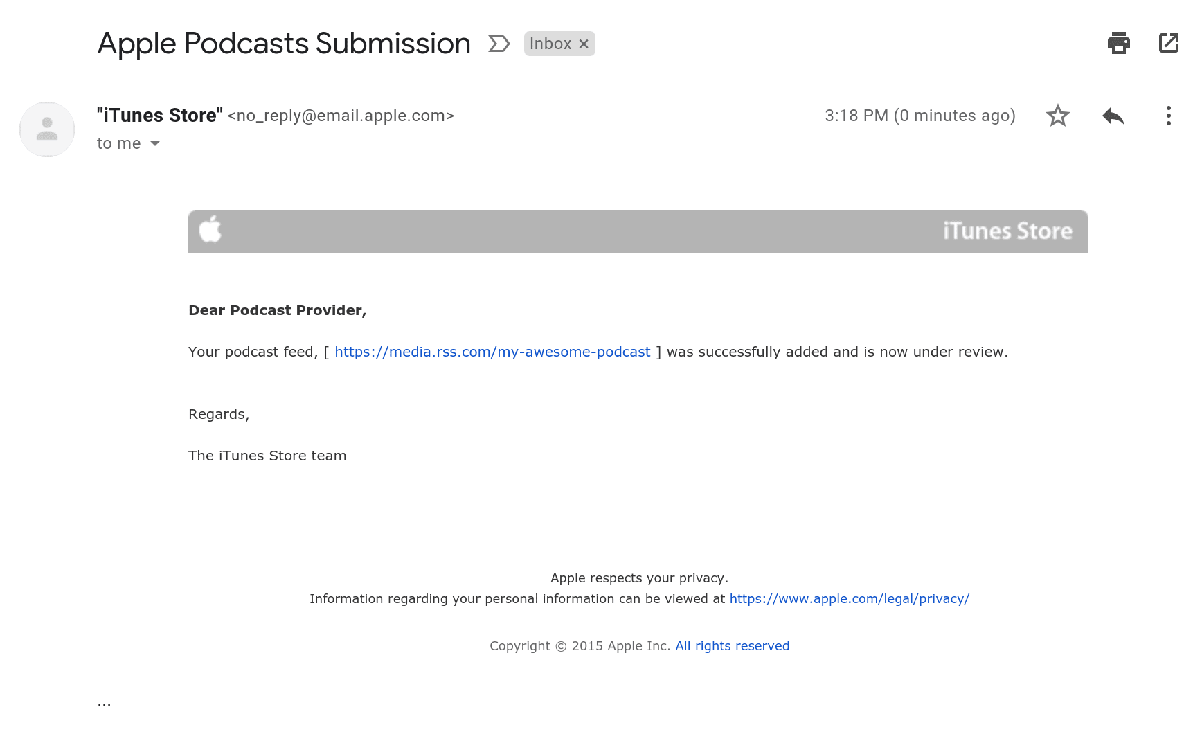 apple itunes podcast review email