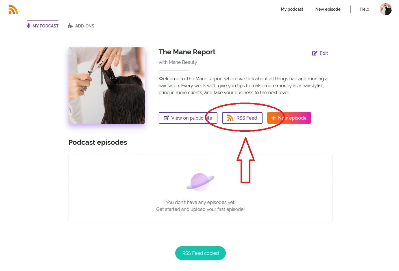 how to find your podcast's RSS feed