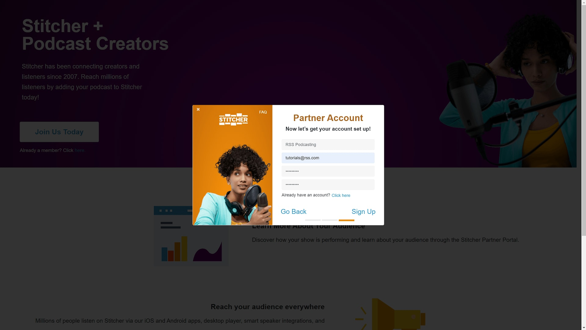 set up a partner account with stitcher