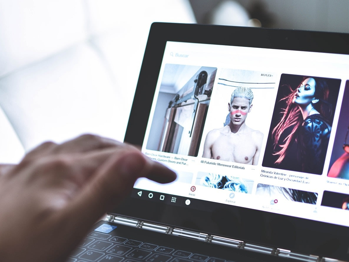 pinterset on a laptop