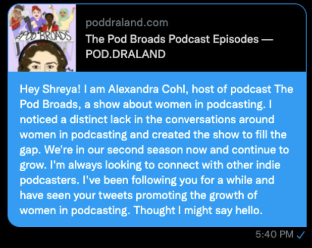 example of social outreach message for podcasters