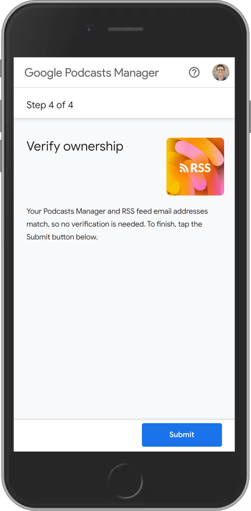 verify your rss feed in google podcasts manager