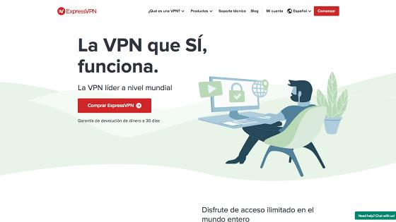 Página principal de ExpressVPN