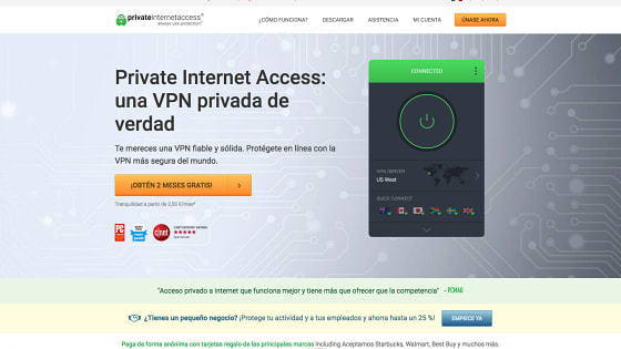 Página principal de Private Internet Access