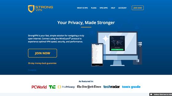 Página principal de StrongVPN