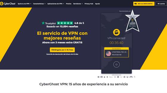 Página principal de CyberGhost