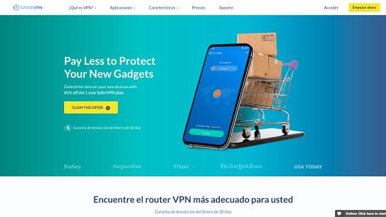 Página principal de SaferVPN