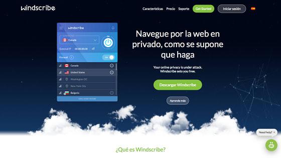 Página principal de Windscribe