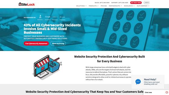 Página principal de SiteLock